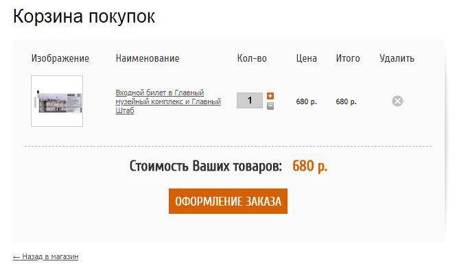Корзина покупок на официальном сайте Эмитаж